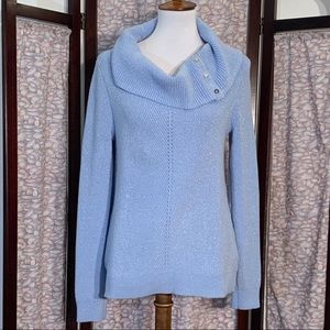 WHBM baby blue and metallic turtle neck sweater.